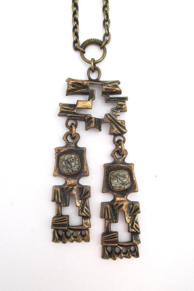 Pentti Sarpaneva bronze & pyrite kinetic pendant necklace