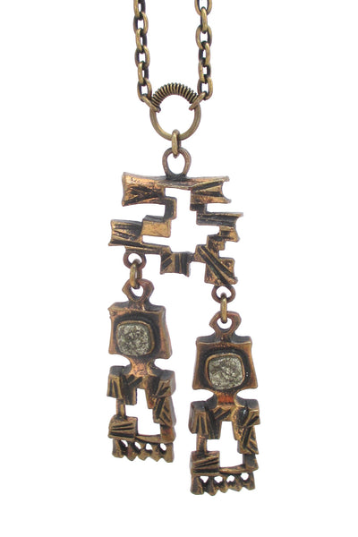detail Pentti Sarpaneva Finland vintage bronze and pyrite stone large kinetic pendant necklace