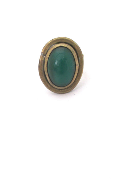 Rafael Canada brass & green oval ring