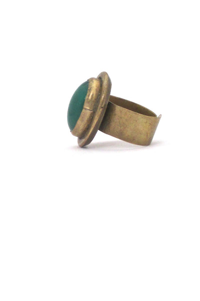 profile Rafael Alfandary Canada vintage brutalist brass green oval ring