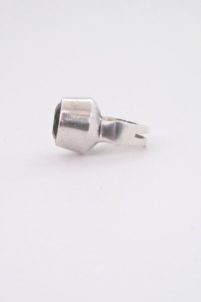 profile Ibsen and Weeke Denmark vintage silver large Scandinavian modernist ring