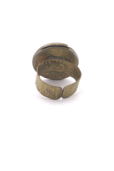 Rafael Canada brass & clear green round ring