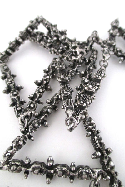 Guy Vidal Canada brutalist pewter long link 'knobbly' chain necklace