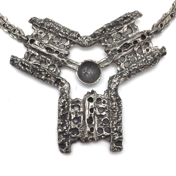 Robert Larin large brutalist pewter bib necklace