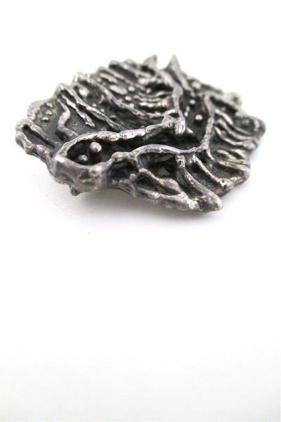 Guy Vidal Canada brutalist pewter happy creature brooch