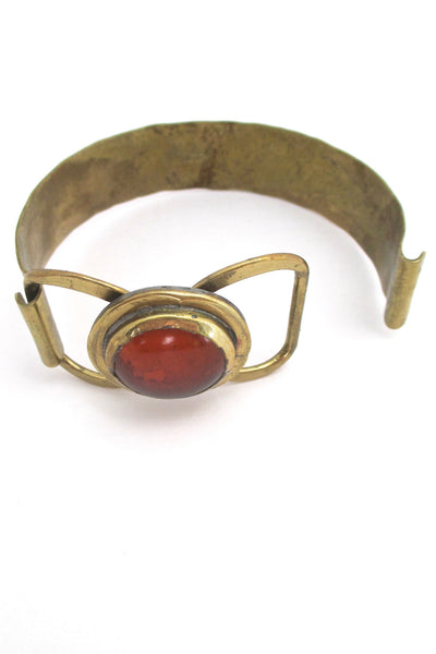 Rafael Canada brass and orange hinged bracelet