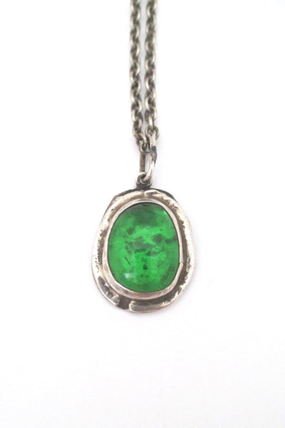 detail Rafael Alfandary Canada vintage sterling silver clear green glass stone pendant necklace