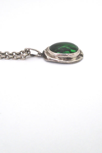 profile Rafael Alfandary Canada vintage sterling silver clear green glass stone pendant necklace