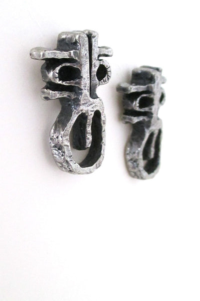 Guy Vidal Canada brutalist pewter masks post earrings