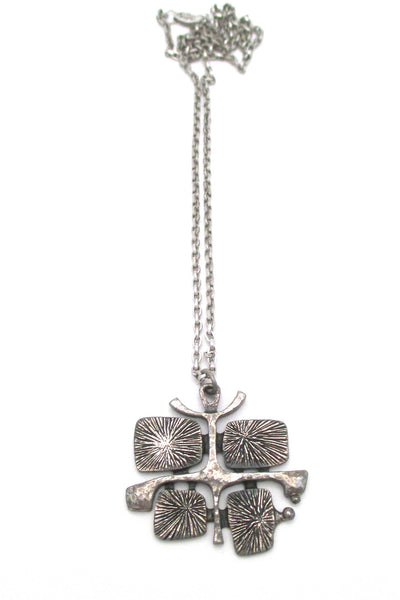 Guy Vidal Canada vintage brutalist pewter radiant plates pendant necklace at Samantha Howard Vintage