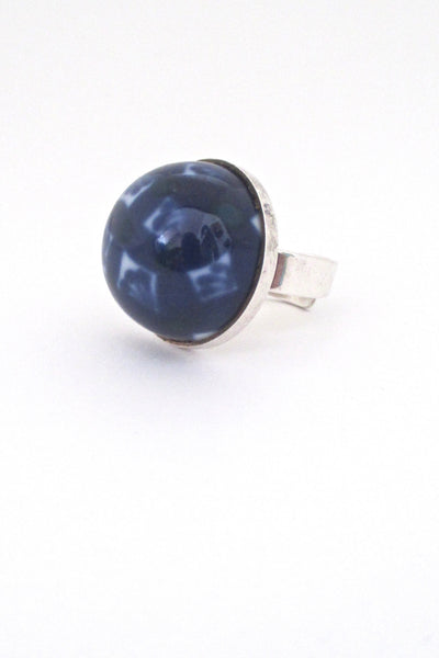 profile Porsgrund Norway vintage silver porcelain large dome ring cobalt blue