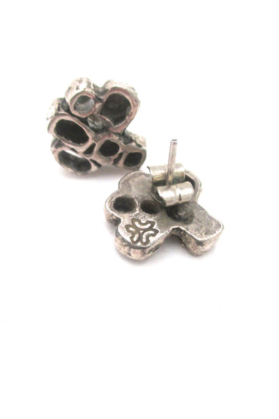 Guy Vidal openwork squares pierced earrings