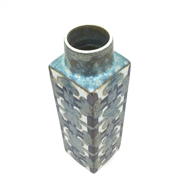 detail Royal Copenhagen Denmark vintage ceramic faience Baca geometric pillar vase by Nils Thorsson Scandinavian Modern design