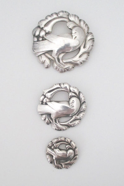 collection of classic Georg Jensen bird brooches at Samantha Howard Vintage