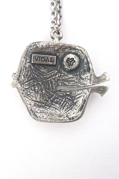 Guy Vidal brutalist fish pendant necklace
