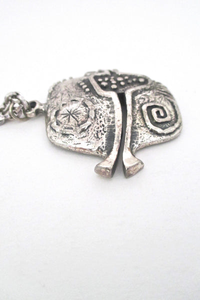 detail Guy Vidal Canada vintage brutalist pewter pierced fish pendant necklace