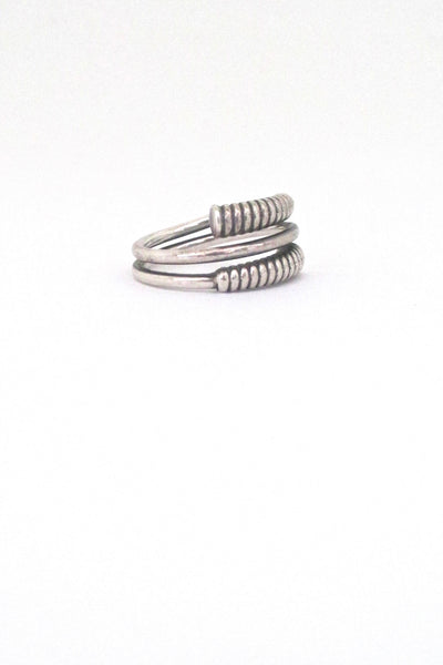 detail David Andersen Norway vintage mid century silver coiled ring