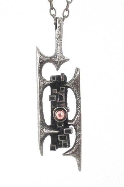 detail Robert Larin Canada vintage brutalist pewter and bronze openwork pendant necklace