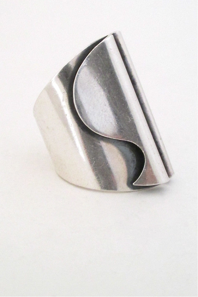 Tone Vigeland for Plus Studio Norway vintage silver large ring rare