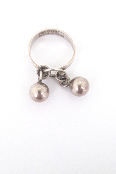 detail Erik Granit Finland vintage silver Scandinavian Modern double sphere kinetic ring