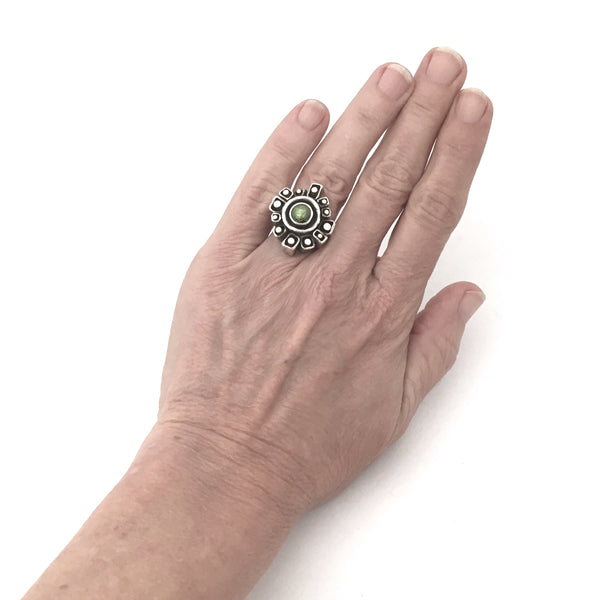 Walter Schluep large brutalist silver & gold ring set with peridot