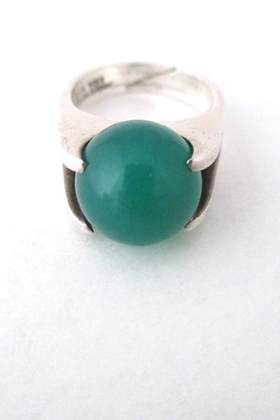 David-Andersen Norway vintage silver and chrysoprase rolling sphere ring