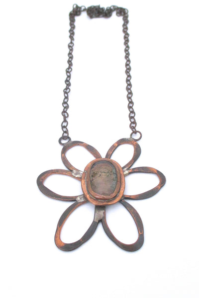 Rafael Alfandary Canada vintage brutalist copper and clear large daisy pendant necklace