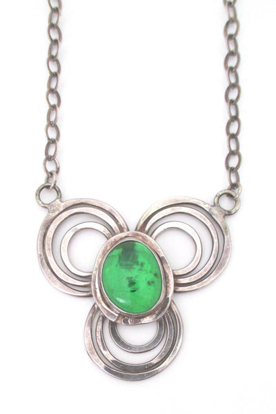 Rafael Canada rare sterling silver with clear green necklace