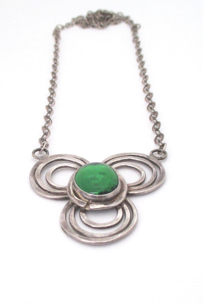 detail Rafael Alfandary Canada vintage rare sterling silver green glass pendant necklace