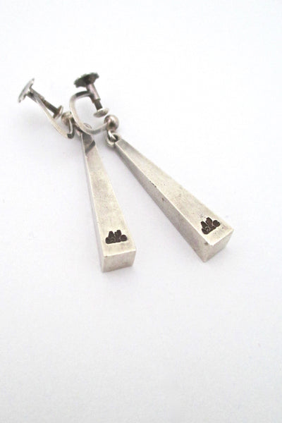 detail Arne Johansen Denmark vintage silver Scandinavian Modern drop earrings