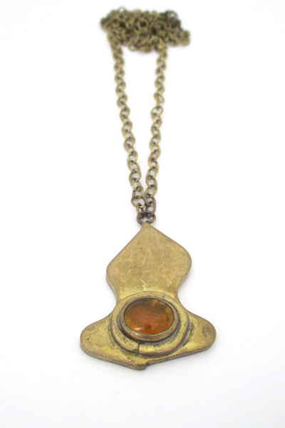 detail Rafael Alfandary Canada vintage brass and clear light orange pendant necklace