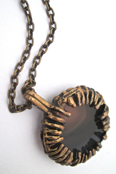 Pentti Sarpaneva bronze & banded agate pendant necklace