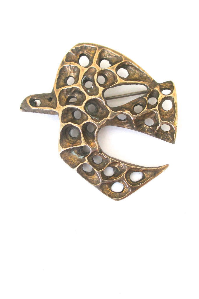 Bernard Chaudron Canada bronze brutalist bird brooch at Samantha Howard Vintage