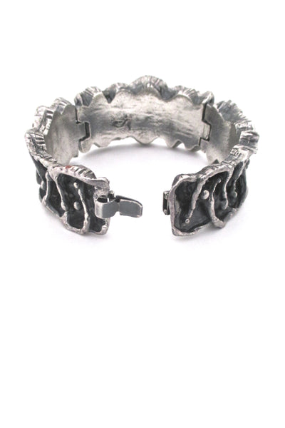 Guy Vidal deeply textured hinged pewter bracelet