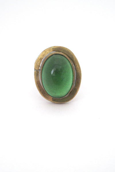 Rafael Alfandary Canada vintage brutalist brass clear green glass ring