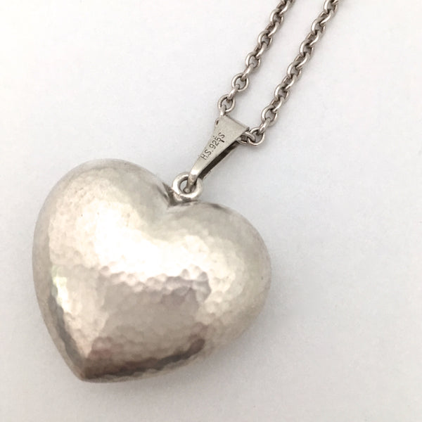 Danish hammered silver heart pendant necklace