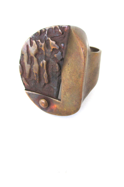 detail Jane Wiberg for Jane & Finn Denmark vintage large sculptural bronze Scandinavian modernist ring 559