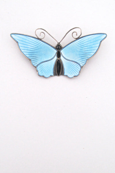 David-Andersen Norway vintage silver sky blue enamel large 2 inch butterfly brooch