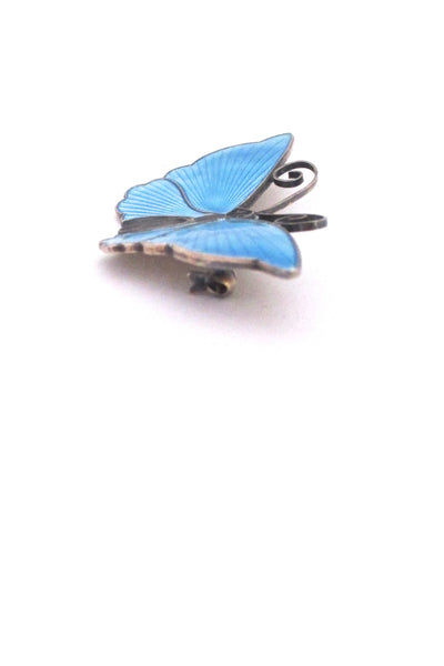 profile David-Andersen Norway vintage silver sky blue enamel large 2 inch butterfly brooch