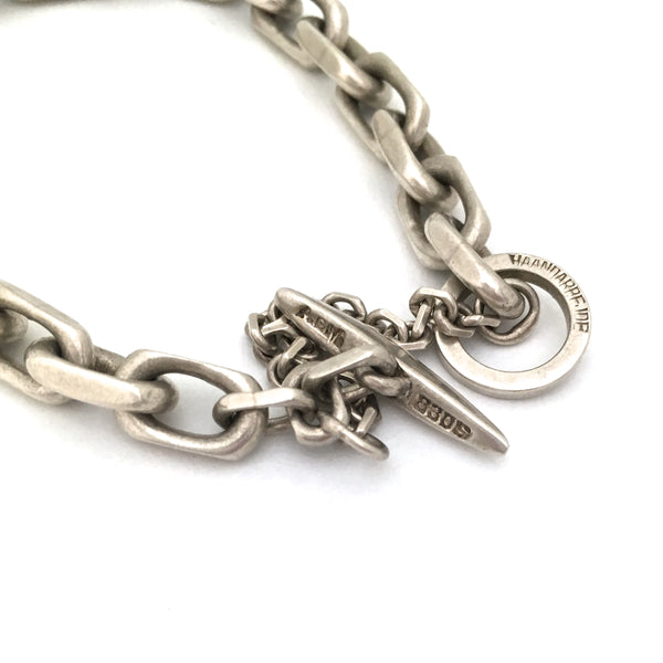 A G Madsen heavy silver chain link bracelet ~ toggle catch