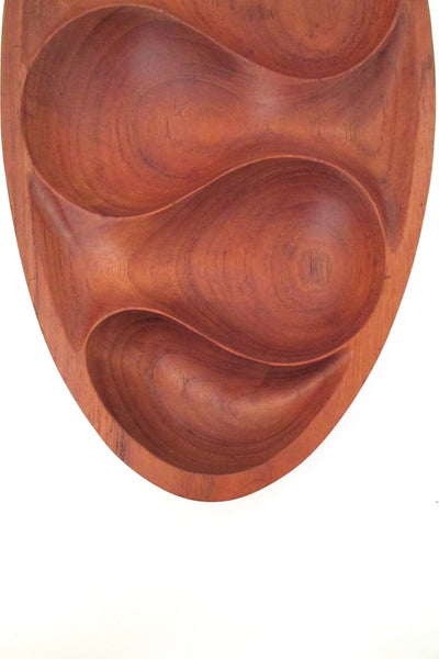 vintage teak modernist carved bowl