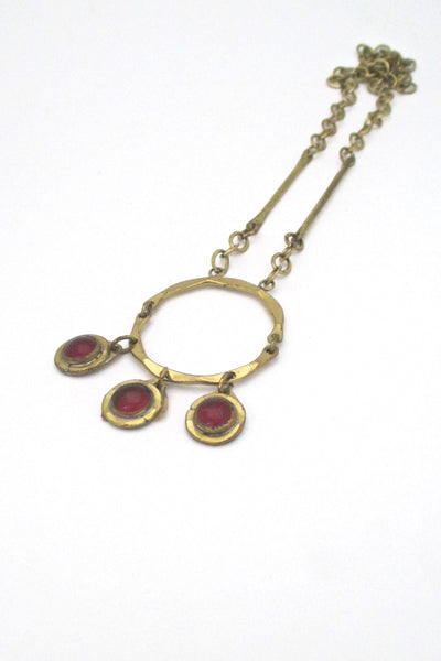 Rafael Canada triple stone kinetic pendant necklace - red