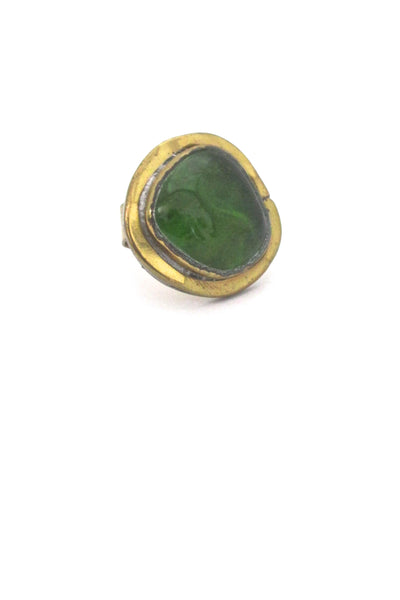Rafael Canada brass and clear grass green ring