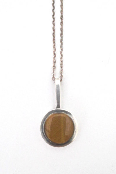 detail Elis Kauppi Kupittaan Kulta Finland vintage Modernist silver and tiger eye pendant necklace