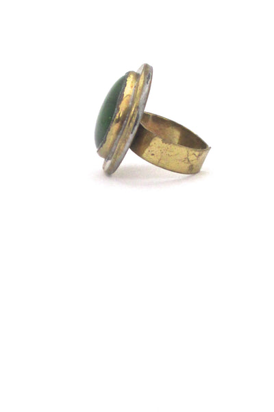 profile Rafael Alfandary Canada vintage brass clear grass green glass ring