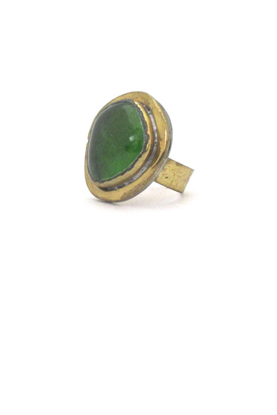 detail Rafael Alfandary Canada vintage brass clear grass green glass ring