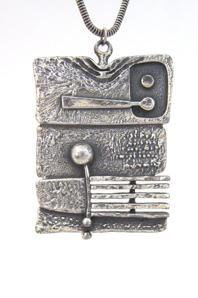 detail Guy Vidal Canada vintage brutalist pewter dimensional stripes pendant necklace