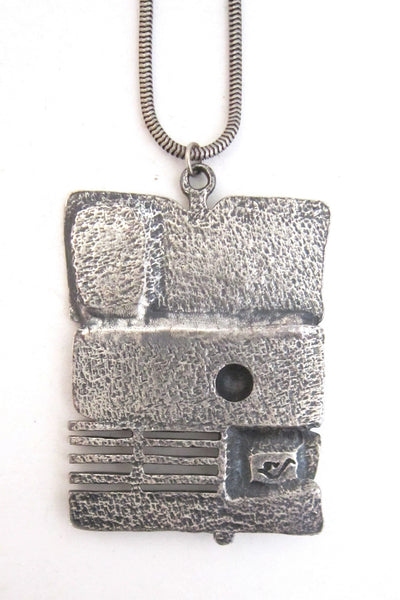 Guy Vidal pierced pewter 'dimensional stripes' pendant
