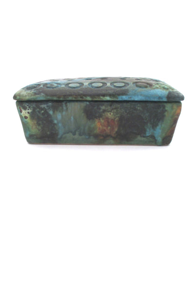 profile Bitossi Italy vintage ceramic Sea Garden lidded box by Alvino Bagni