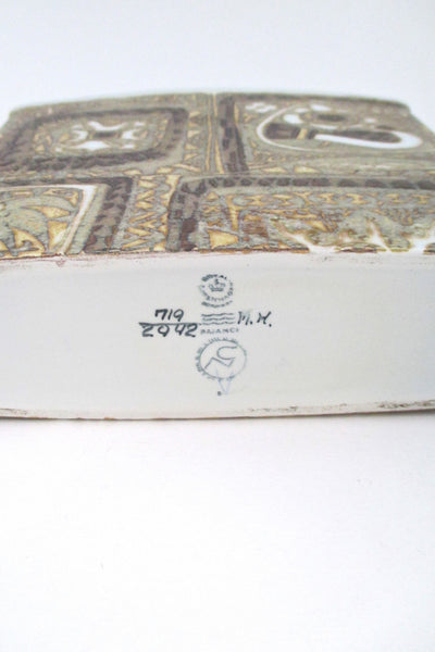 Royal Copenhagen rectangular Baca bird vase
